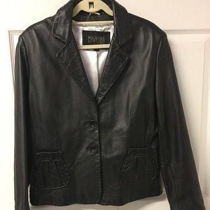 Wilson leather black blazer XL